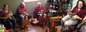 Butler Spinners and Weavers Guild were here weaving today.